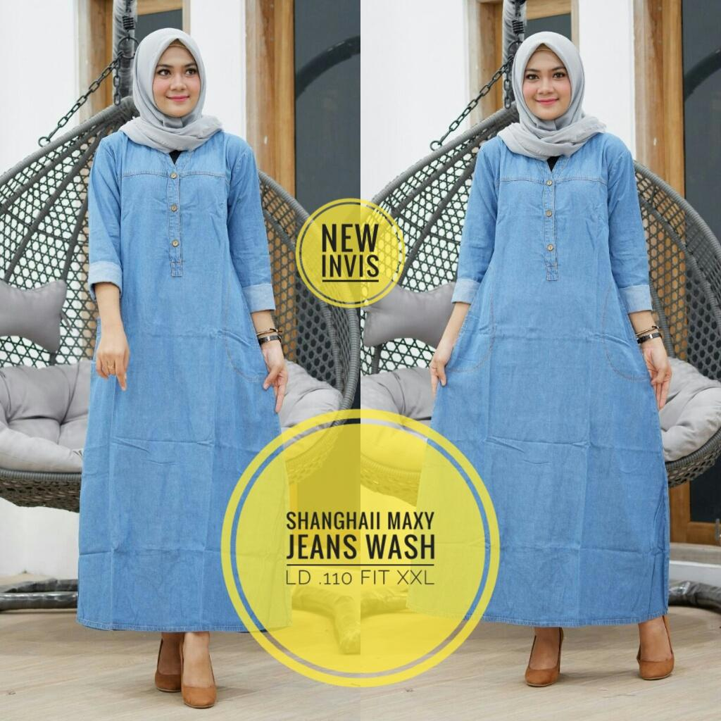 Gamis Shanghai Maxi - Gamis Maxi Jeans - Long Dress - Baju Muslim Wanita