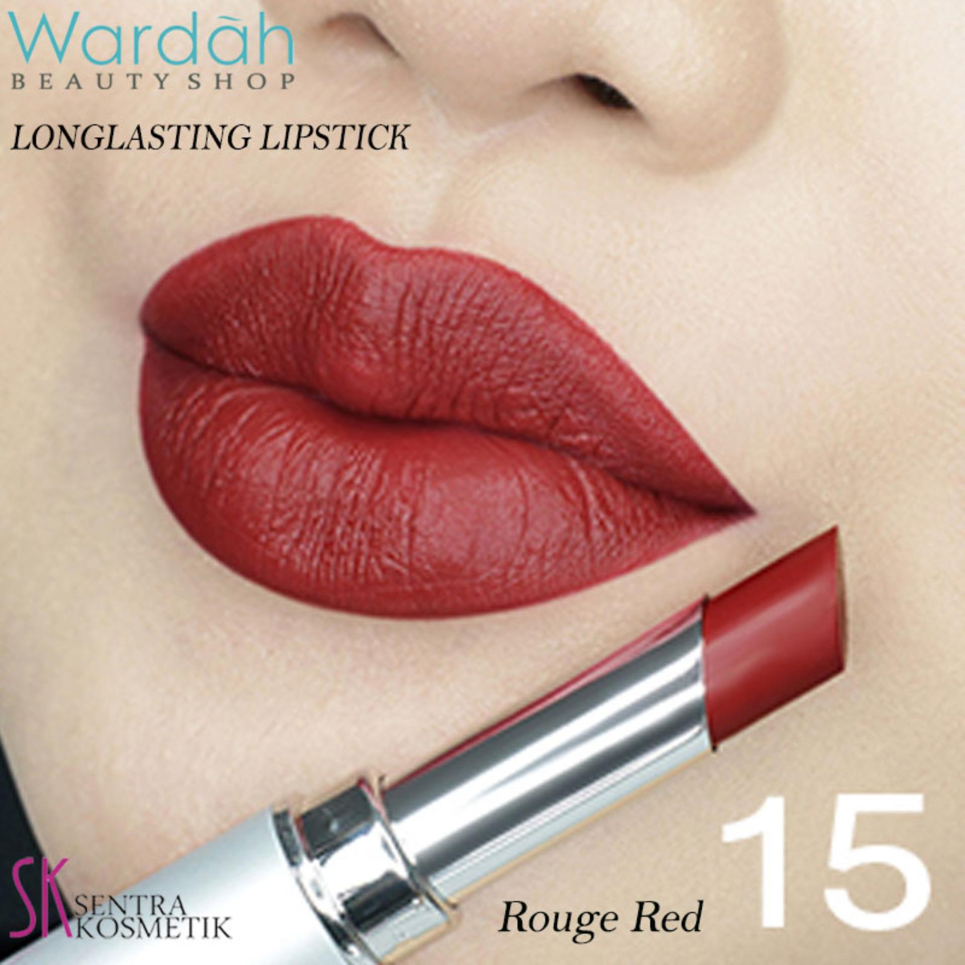 Hemat Wardah Longlasting Lipstick No 15 Rouge Red Facial