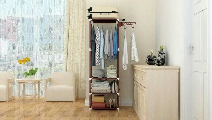 Lemari Rak Baju Pakaian Serbaguna Dengan Gantungan Stand Hanger Cloth @ 3 pintu anak bayi kayu jati minimalis plastik gantung murah portable sliding