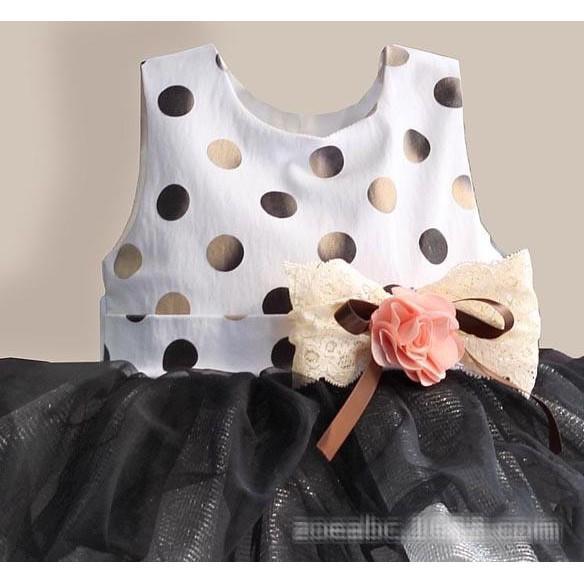 PROMO SALE - GAUN PESTA ZOE FLOWER - DOTTER TUTU OUTFITS KIDS PARTY DRESS  F001