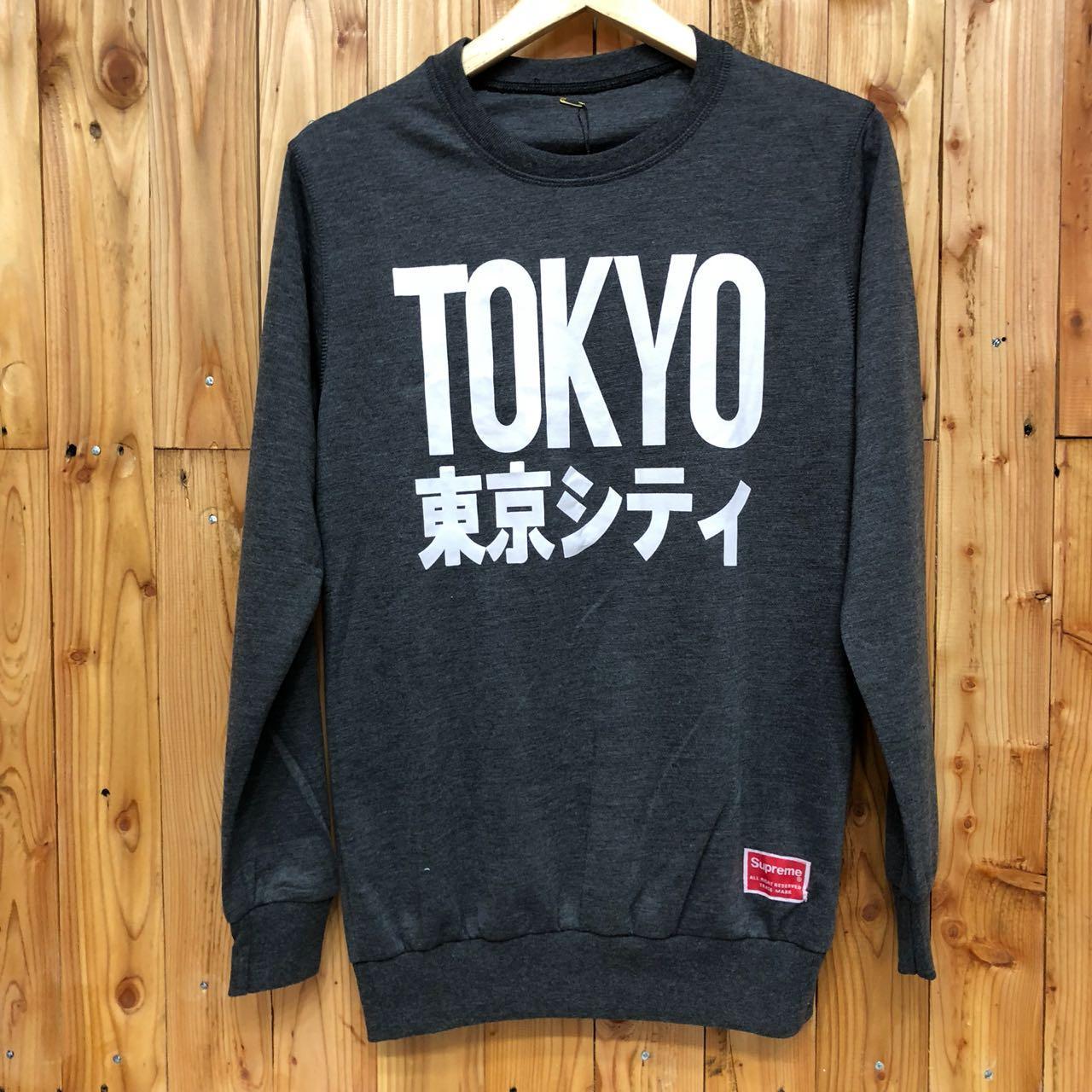 Features Nia Fashion Sweater Sweatshirt Basic Oblong Supreme Lengan Polos Hitam Panjang Pria Cowok Distro Ala