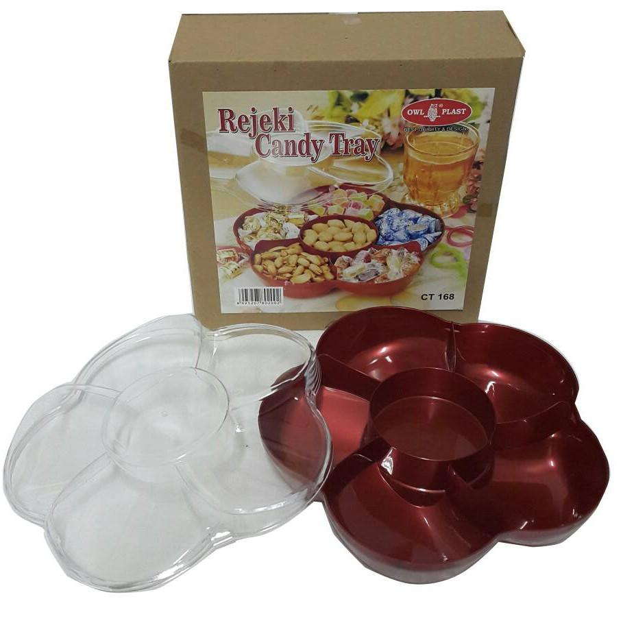 Toples Bunga 6 Sekat Candy Tray - Toples Candy Tray 6 Sekat Tutup Transparant Model Bunga
