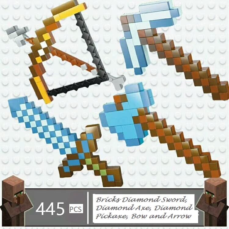 Lego Bricks Lepin Minecraft Sword 03050 Pedang (Diamond Sword / Diamond Pickaxe / Diamond Axe / Bow