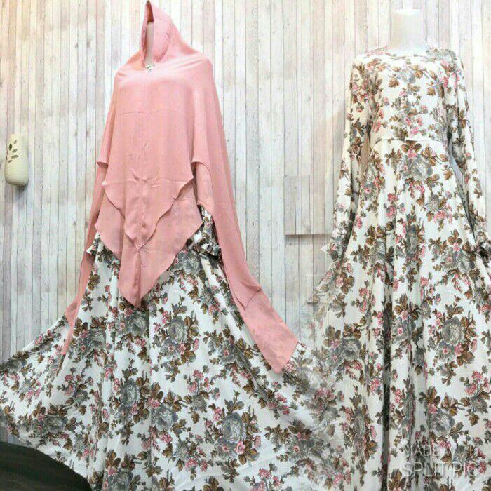 Adzra Gamis syari Murah/busana muslimah - Shinta Dress - Putih