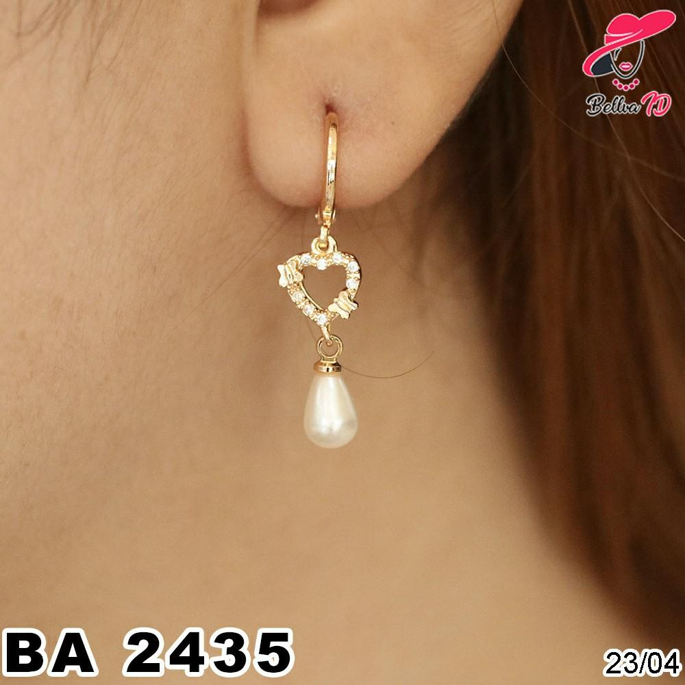 Jual Perhiasan Anting Emas Love Simple Mutiara Ekslusif A 2435