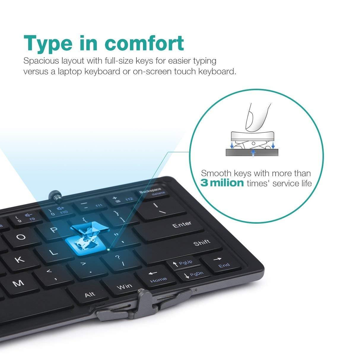 NIERBO Universal Foldable Keyboard Wireless Rechargeable Bluetooth 3.0 Ultra Slim Mini Lightweight Portable .