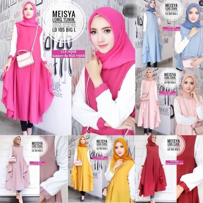 Baju Atasan Meisya long Tunik Baju Mulsim Blus Muslim Blouse / baju / baju wanita / baju atasan wanita/ baju motif / baju murah / baju keren / baju lucu / baju berkualitas