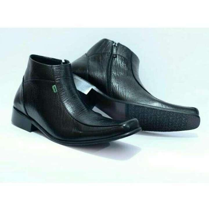 sepatu pantofel PDH Tinggi kulit asli formal pria kickers kerja kantoran  rapat dinas resmi resleting Hitam dcaf44b959