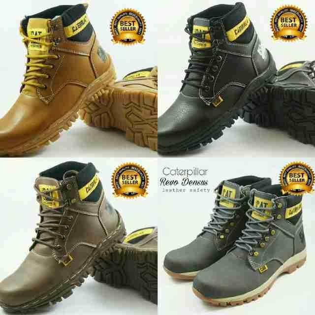 Promo Sepatu Pria Caterpillar Revo Dens Boots Safety Kulit Buck Kerja Proyek Fashion