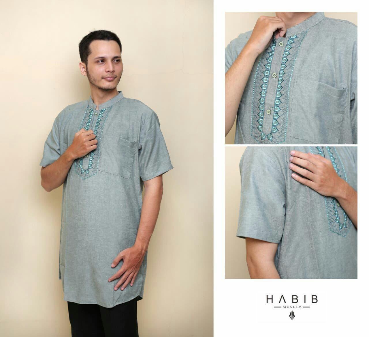 Baju Pria Kemeja Baju Koko Gaul Habib Pendek Hijau Muda
