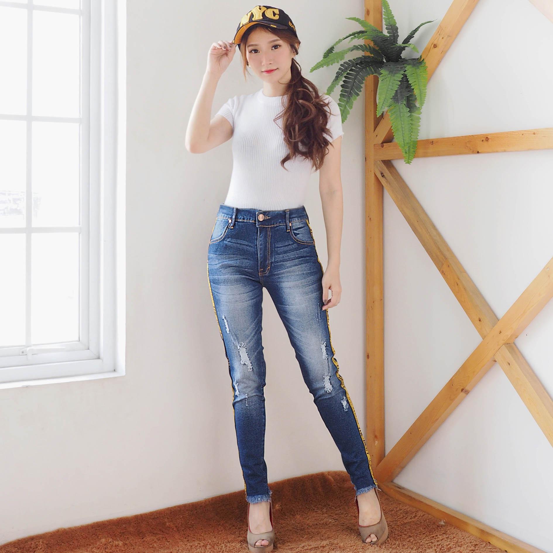 ... Celana Bigsize jeans Jumbo Wanita - Celana List kombinasi DMD - BEST SELLER - (available