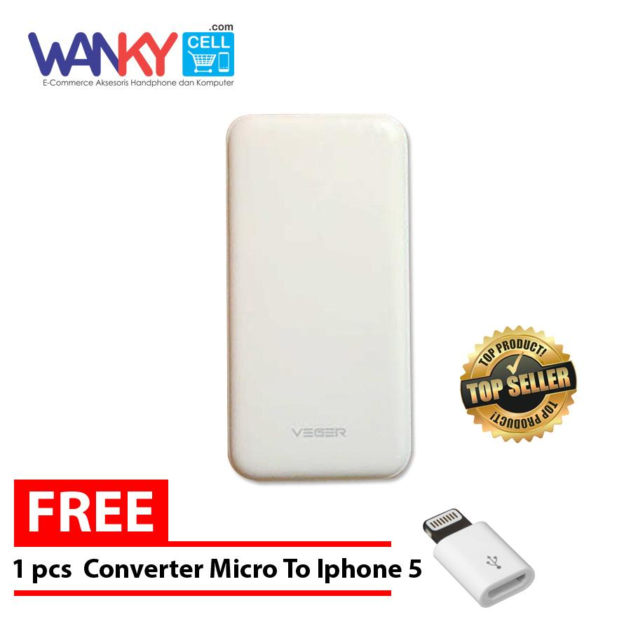... Veger V16 Power Bank 25.000mAh Free Converter Micro to Iphone 5 - Putih