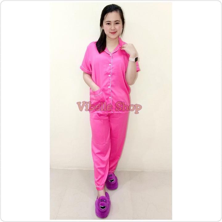 SATINCP - HOT PINK - Satin Silky Velvet Vibelle shop grosir baju tidur piyama fashion murah wanita