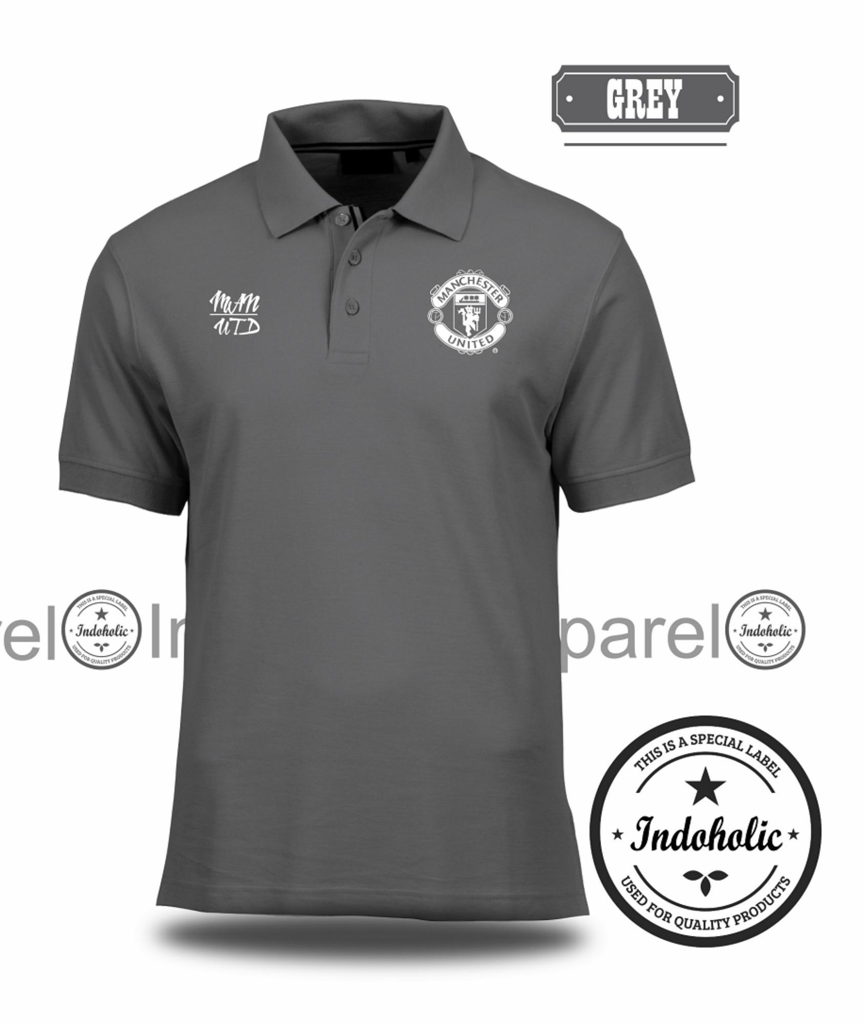 Polo Shirt Kaos Distro Football Club Klub Sepak Bola Liga Inggris Manchester United MU T-Shirt Fashion Pria Wanita Cowok Cewek Baju T-Shirt Jakarta Bandung Terbaru Jaman Now Kekinian Atasan Pakaian Polos Pendek Kerah Berkera