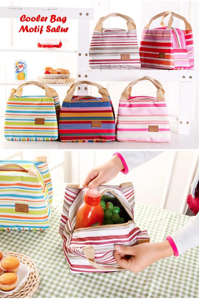 Rp 63.800. TERLARIS Cooler Bag Motif GARIS / SALUR Insulated Lunch Bags Tas Bekal Sekolah PROMOIDR63800. Rp 63.800