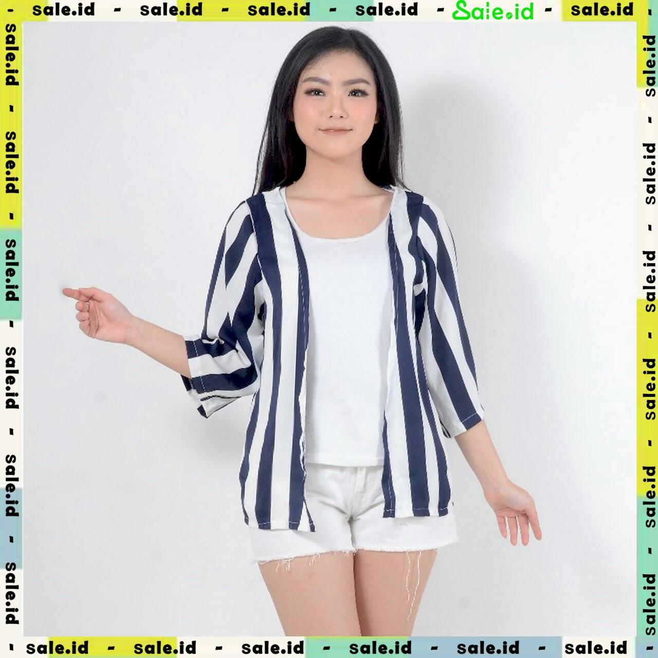 Sale.id - Outer Cotton / Luaran Katun Wanita / Motif Salur - Hitam