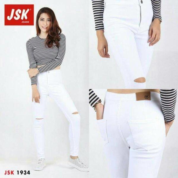 WSCollection celana hwaist putih sobek lutut model skinny bahan bagus jahitannya rapi harga murah terjangkau