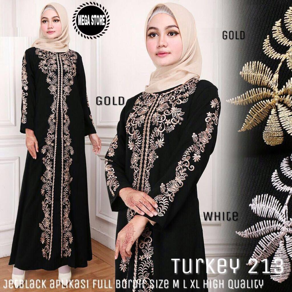 Gamis Turkey 213  Abaya Turkey 213 Jetblack Full Bordir