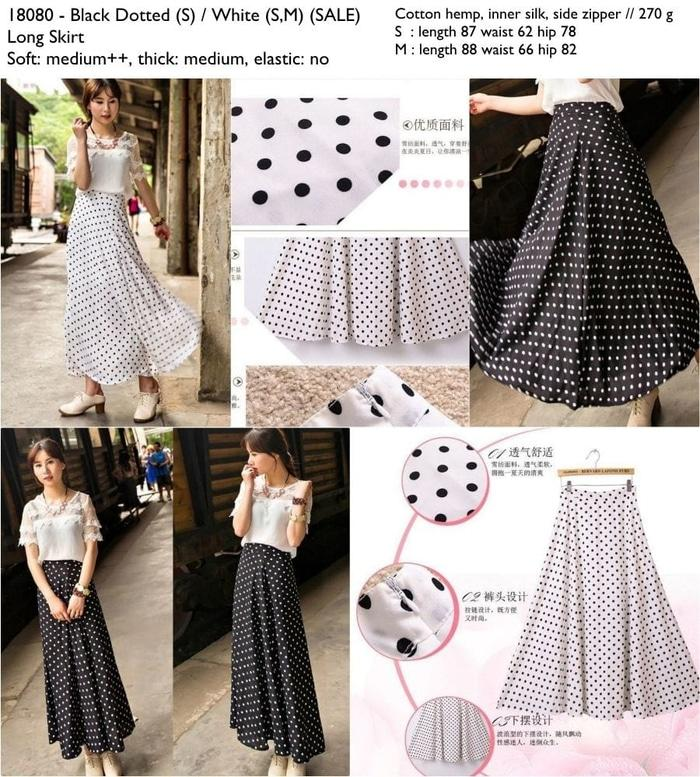 18080 - White Dotted  (SALE) -  Long Skirt