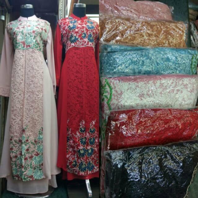 Realpict Gamis Bahan Brokat Full Bordier  Cantik / Gamis Pesta Muslimah