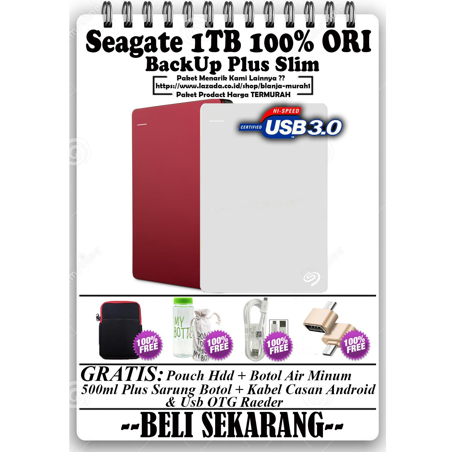 Seagate BackUp Plus Slim 1TB - HDD / HD / Hardisk External Usb 3.0 - GRATIS Pouch Harddisk + Botol Air Minum 500ml Plus Sarung Botol + Kabel Casan Android & Usb OTG Reader