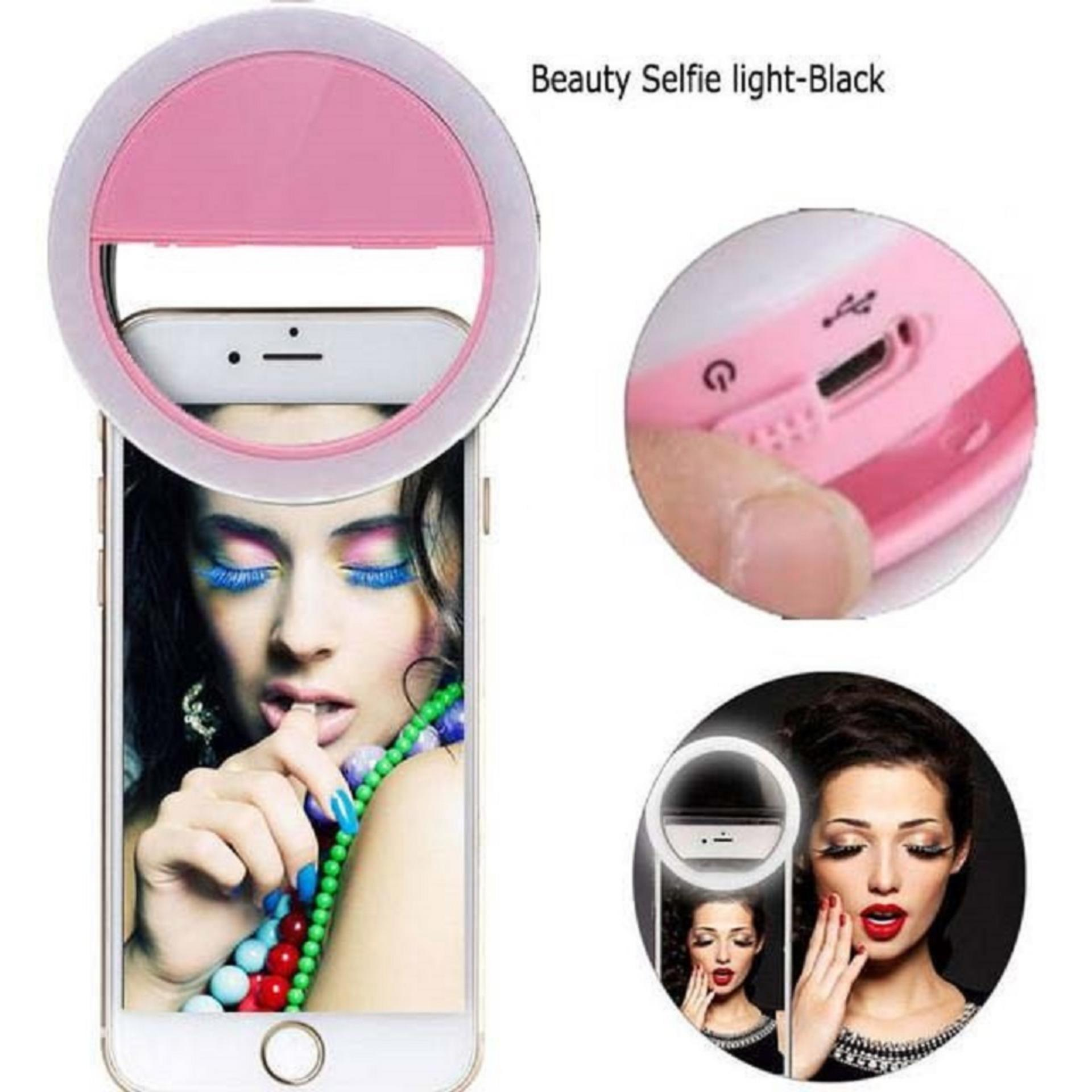 Bendoel 36 LED Selfie Ring Lampu Flash Light Smartphone Universal Portable For Fotografi / Webcam / MakeUp / Laptop / Android / Emergency / Windows / iOS / Tablet With USB Charger - Pink