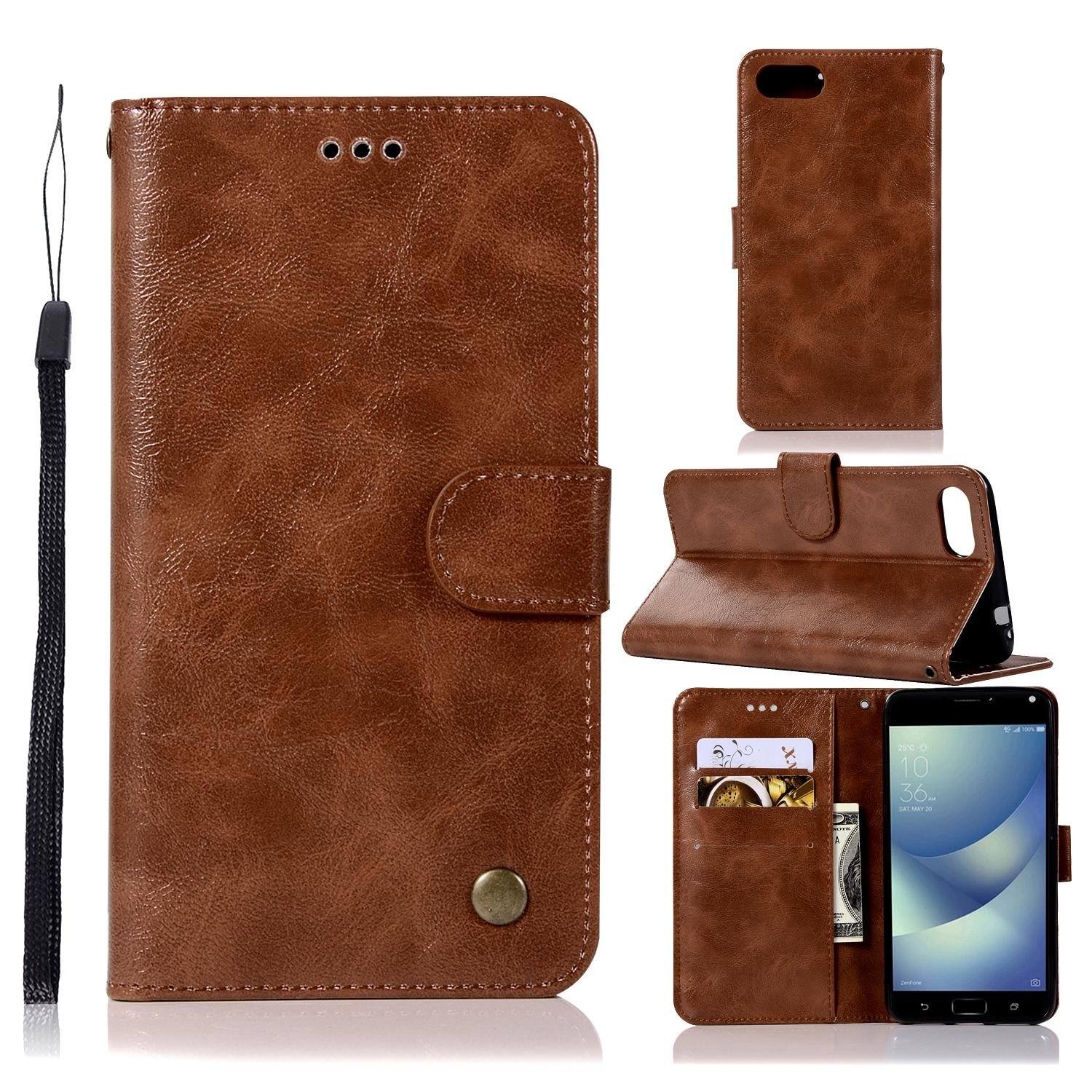 Casing For Asus Zenfone 4 Max Zc520kl,reto Leather Wallet Case Magnetic Double Card Holder Flip Cover By Life Goes On.