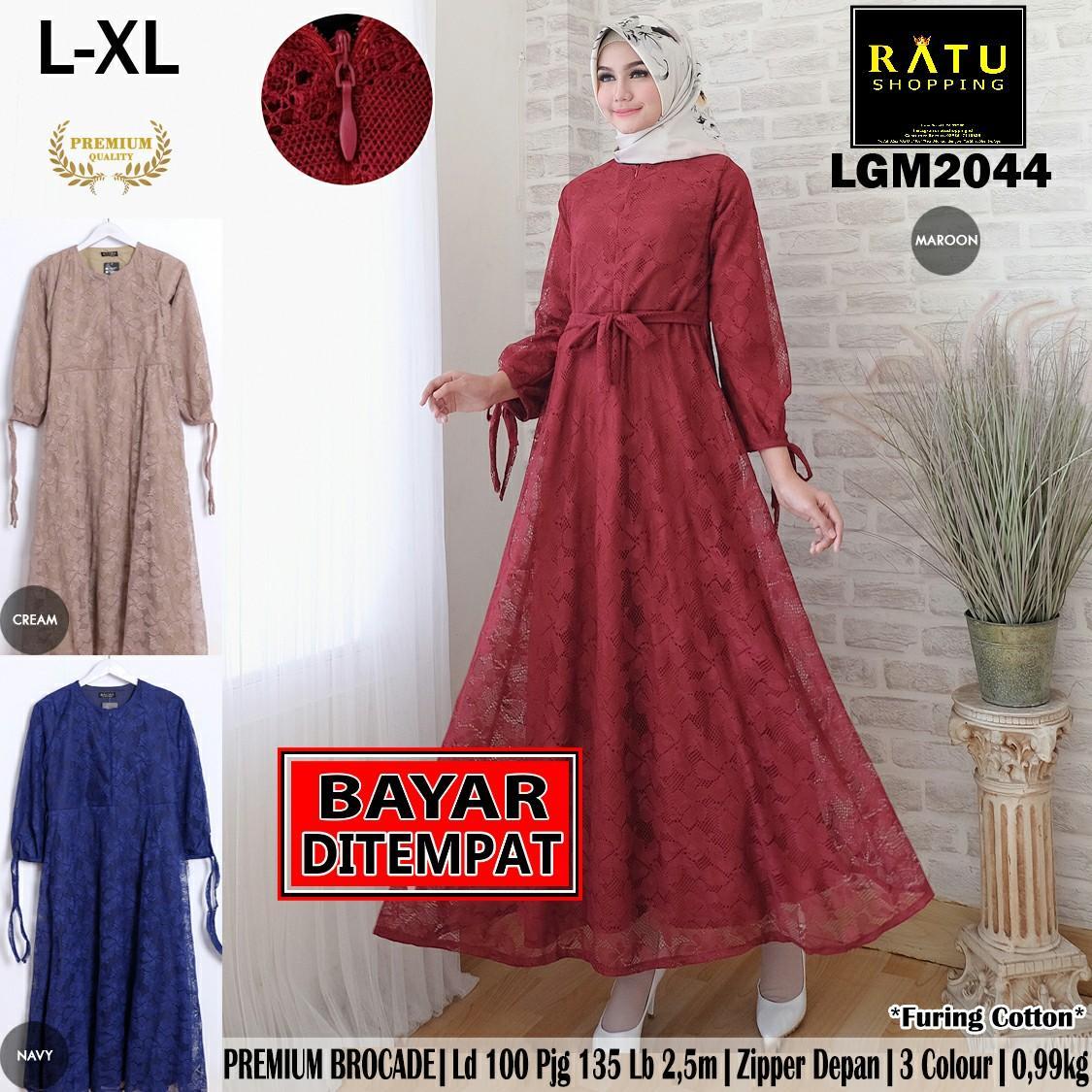 RATU SHOPPING Gamis brukat brokade real pic L XL gamis cantik gamis fashion muslim gamis trendy kekinian elegan murah trendy