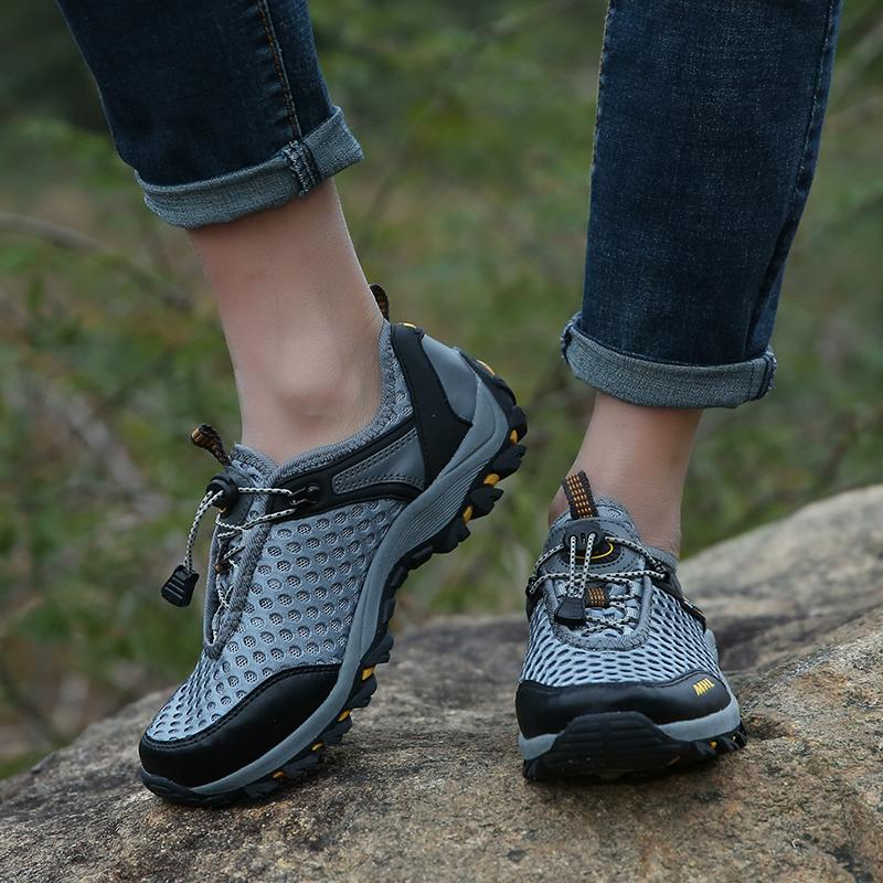 MENTEE Pria Hiking Sepatu Bernapas Sepatu Musim Panas Air Aqua Sepatu Luar Sepatu .