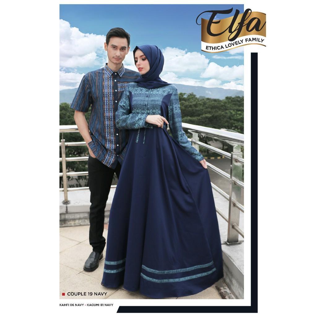 Busana Muslim Couple Ethica 19 Navy Gamis XL-XXL