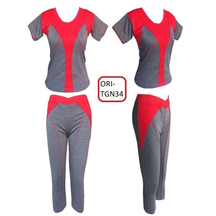 Baju Senam Tangan Pendek & Celana 3/4 Cantik dan Seksi Berbagai Warna - TGN34