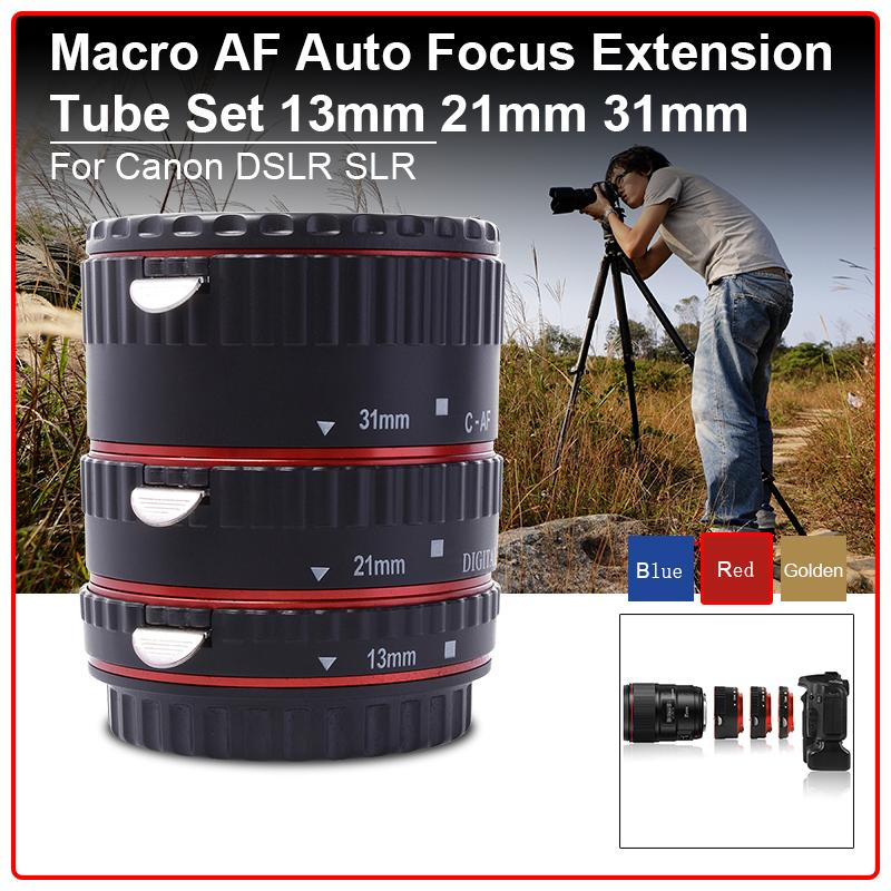 Metal Auto focus AF Macro Extension Tube Set for Canon EOS EF Camera Red DC467