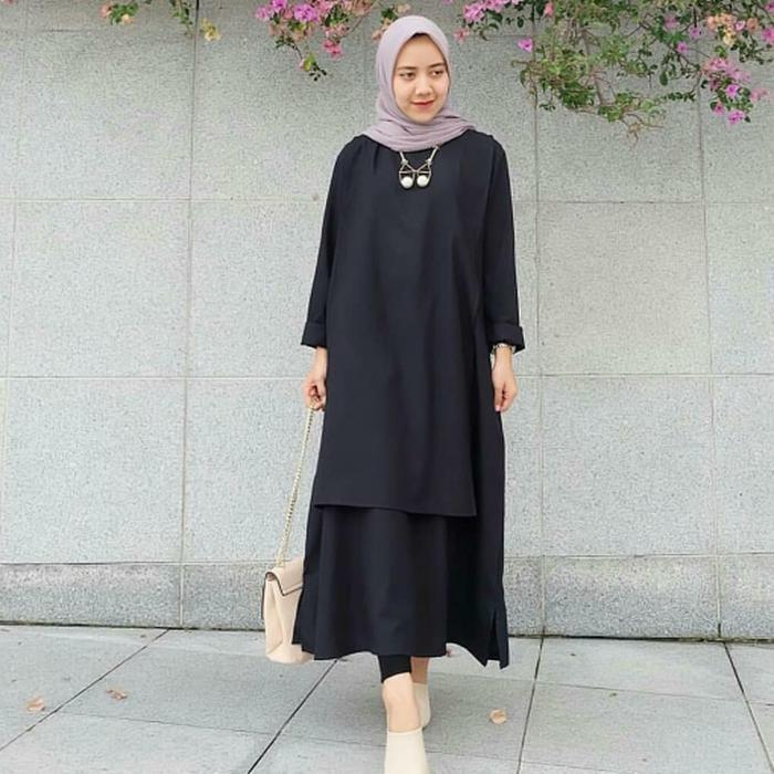 Thalliah Atasan muslim wanita / Jual baju murah / Pakaian hijaber Carey Tunik