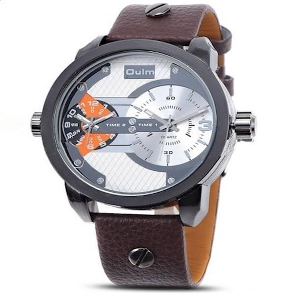 Oulm Jam Tangan Analog Leather - 3221 - Brown/White
