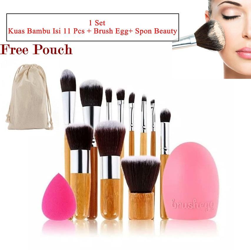 Paket 11 Piece makeup make up Brush Set Bamboo Handle Premium Synthetic Kabuki Foundation - Spon Beauty Blender With Brush egg