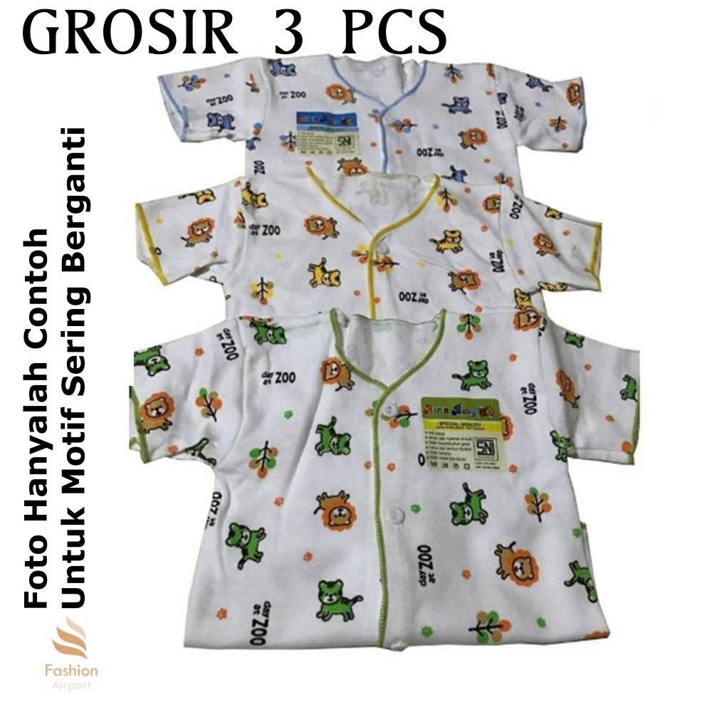 Mesh 3PCS Baju Bayi Lengan Pendek by Airin / Baby shirt Baju Bayi Set - Atasan - MOTIF RANDOM - 3 P