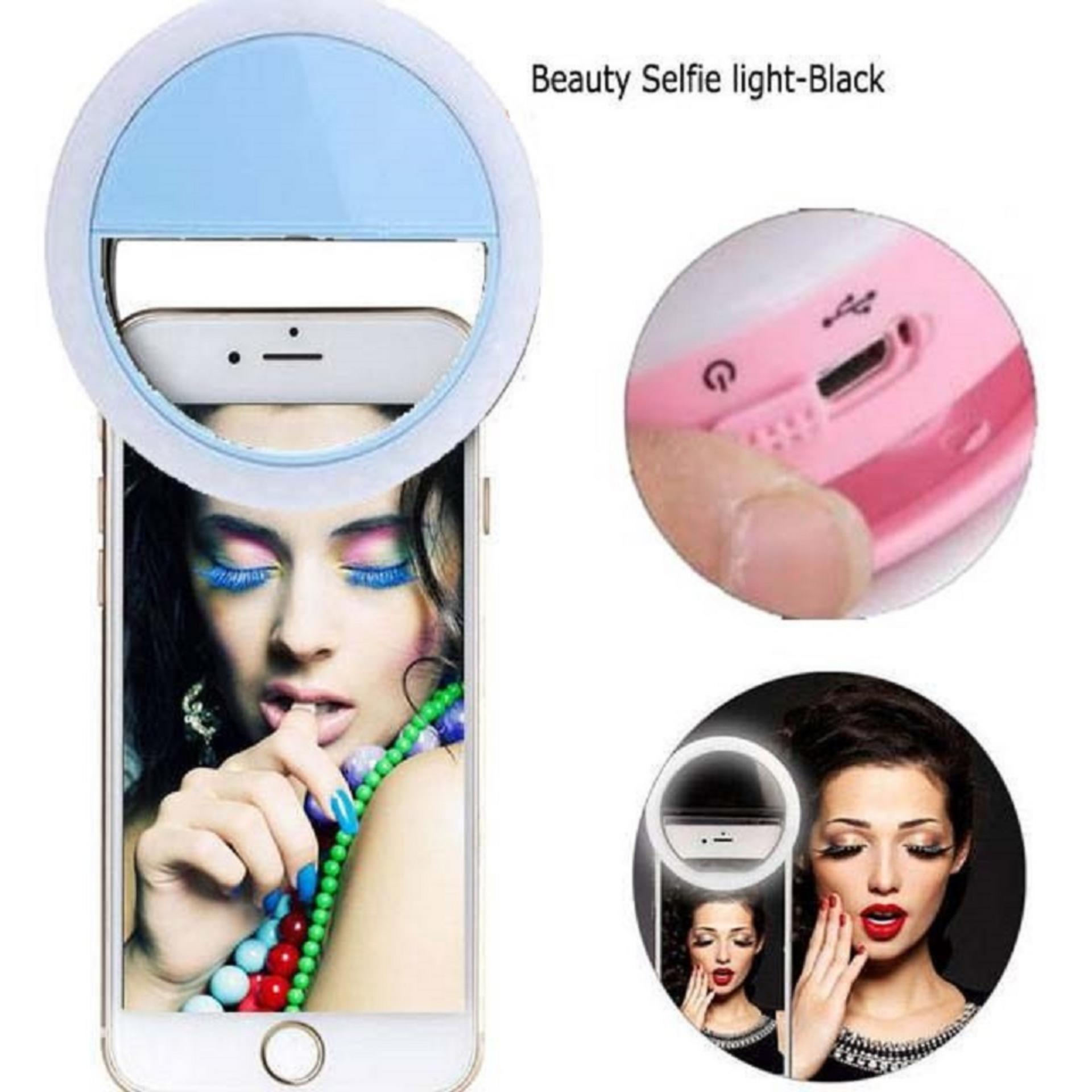 Bendoel 36 LED Selfie Ring Lampu Flash Light Smartphone Universal Portable For Fotografi / Webcam / MakeUp / Laptop / Android / Emergency / Windows / iOS / Tablet With USB Charger - Biru Muda