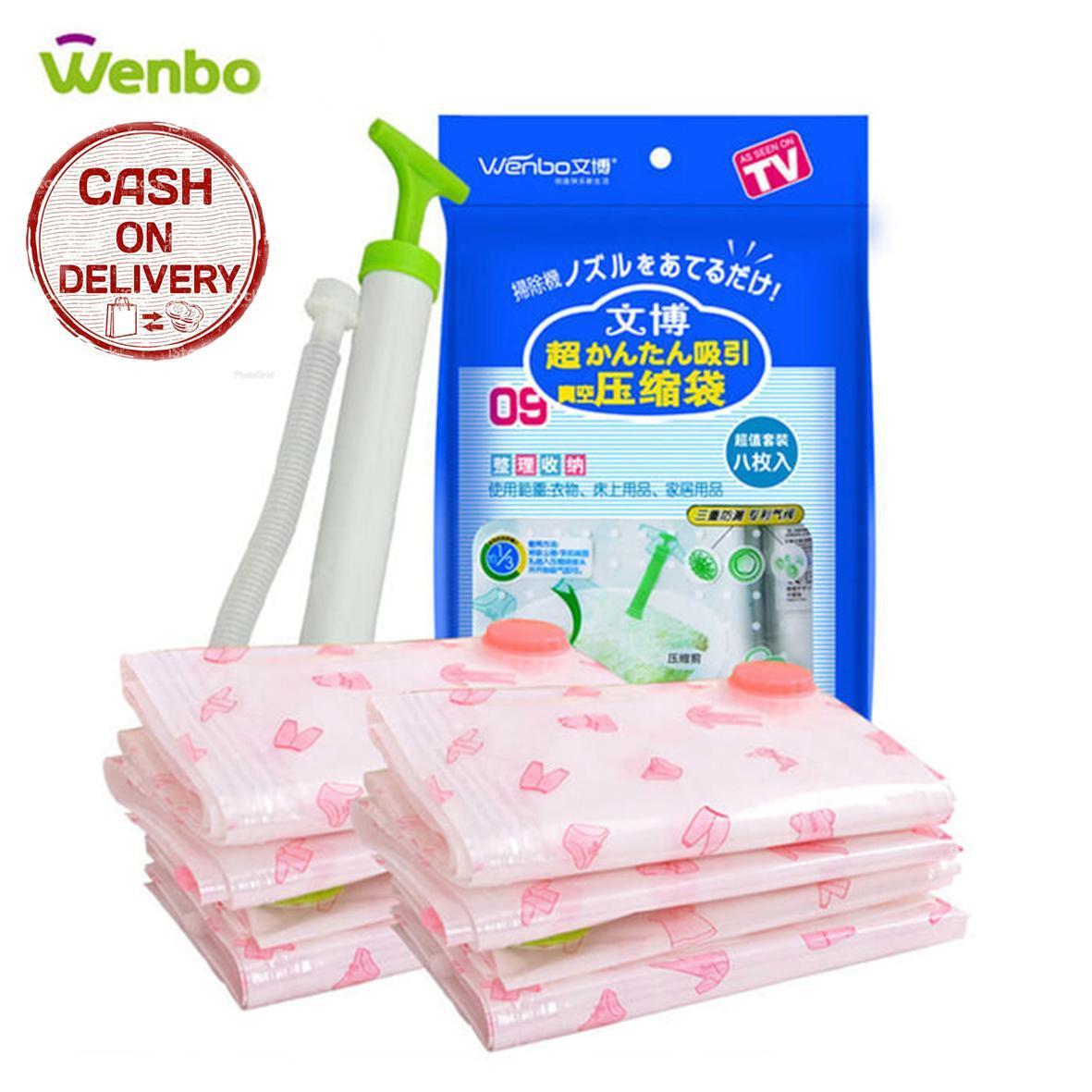 Kado Unik-- Wenbo Vacuum Bag / Vakum Bag Plastik Set Isi 8 + Free Pompa Manual / Tas Kantong Plastik / Tempat Penyimpanan Pakaian,Selimut,Bed Cover,Dll / Tempat Penyimpanan Serbaguna / Travel Bag Set Murah / Storage Bag Serbaguna