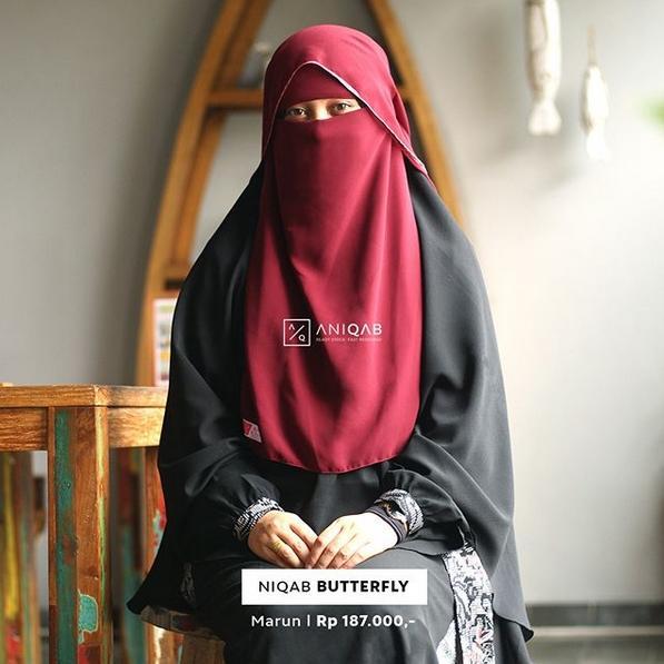 cadar/ niqob butterfly/ kupu- kupu cantik bahan ceruti babydoll eksklusif by Anizah Khimar