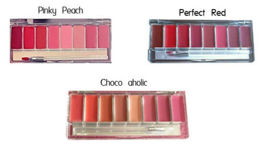 WARDAH LIP PALETTE (PINKY PEACH, CHOCOAHOLIC, PERFECT RED) Set & Palette Makeup Promo