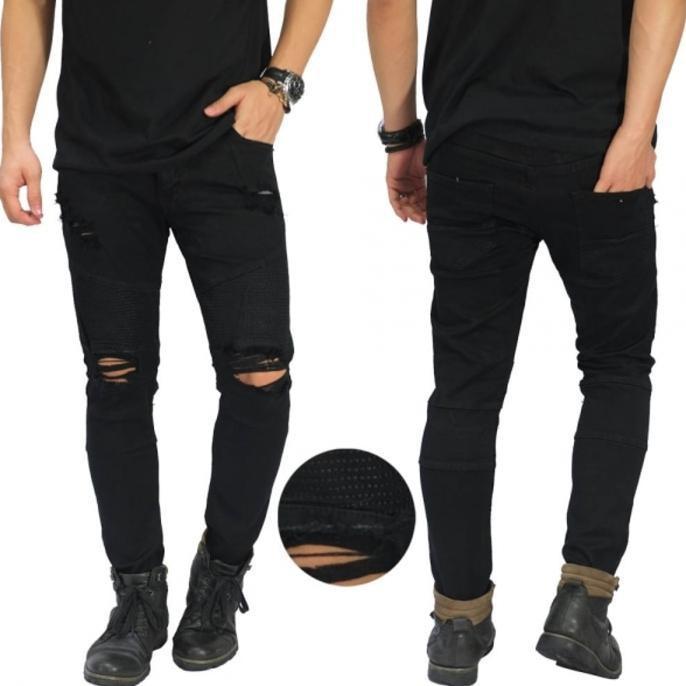 Jeans Ripped Extra Damage Black/ Celana Jeans Robek Sobek Hitam Keren - Sqtezk