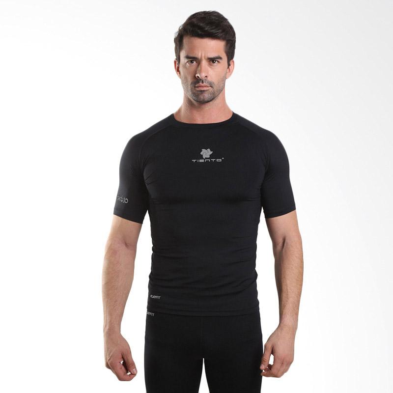 Tiento Baselayer Short Sleeve Black Baju Kaos Ketat Manset Lengan Pendek Rashguard Compression Base Layer Olahraga Lari Sepak Bola Futsal Running Renang Diving Gym Senam Fitness Yoga Original