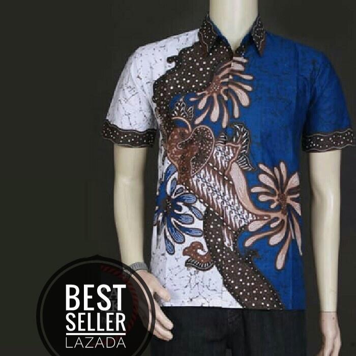Baju Batik Kantor Baju Batik Kerja Atasan Batik Motif JAGAD - Biru