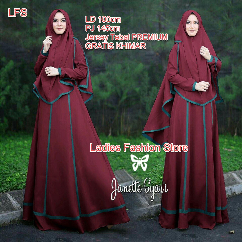 LFS TERLARIS Gamis Panjang Bahan Premium GRATIS KHIMAR / Gamis Wanita / Gamis Syari / Syari Simple Elegant / Baju Muslim Wanita / Gamis Lebaran 2018 / Dress Cewek / Bahan ASLI PREMIUM (nettaja) SS - Maroon