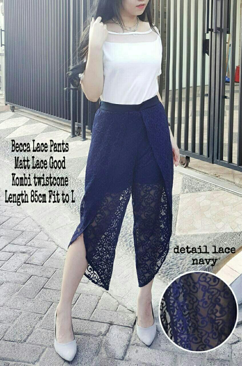 Ladies Fashion BARU Celana wanita Lace Bahan Bagus Import / Celana Murah Korea brukat / Bawahan Wanita / celana Pendek / Short Pants Modis 3/4 7/8 RN (ccabe) - Navy