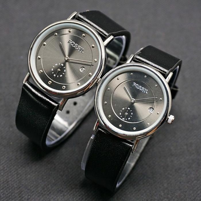Jam Tangan Pasangan Fossil Couple SK700 Leather Black Silver .