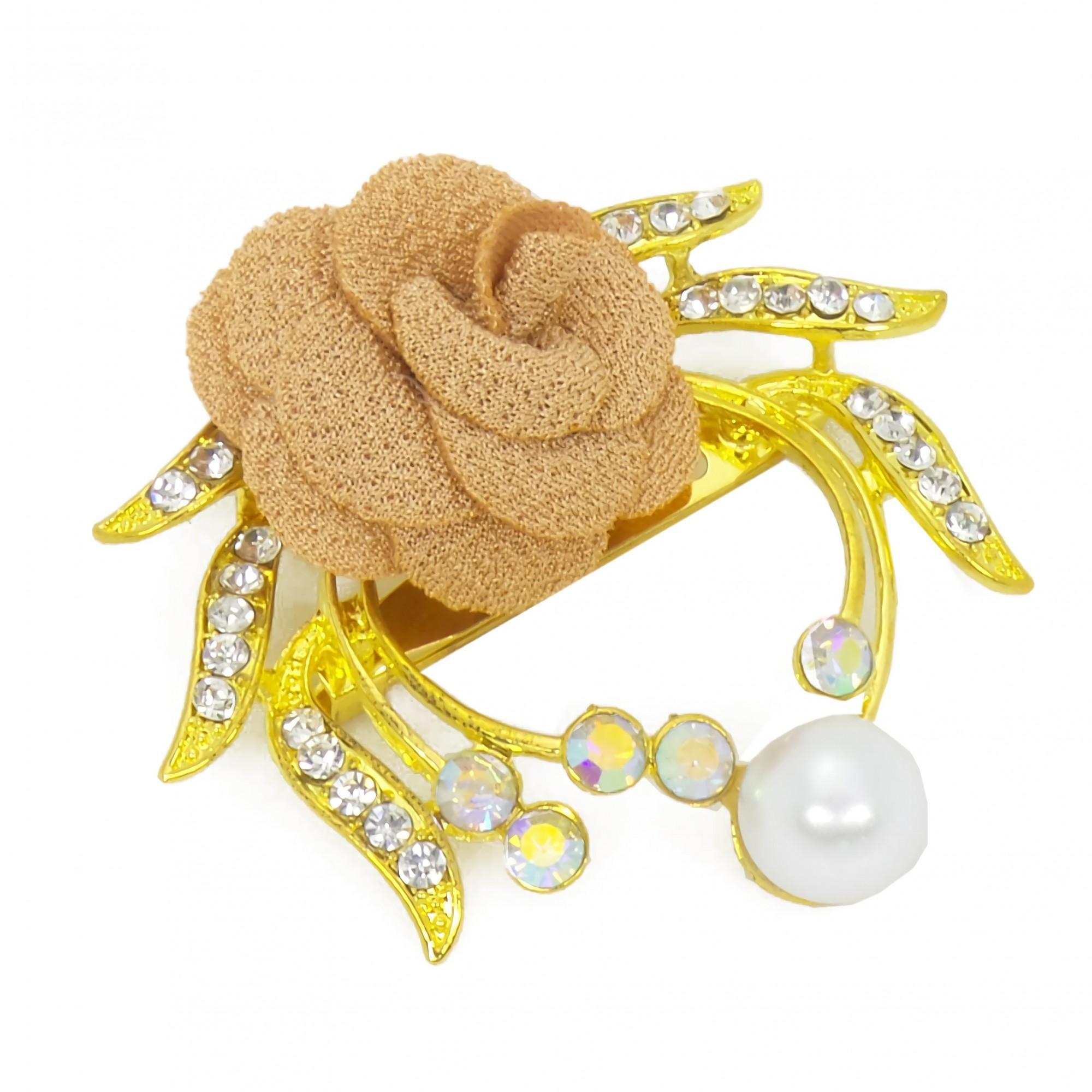 OFASHION Aksesoris Bros [1 Pcs] CA-618-B Hijab Jilbab Mawar Fashion Jewelry Xuping Emas Coklat