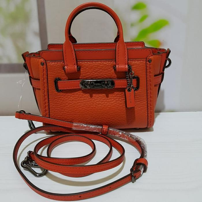 Coach Swagger 15 Coral Pebble Leather. Tas Coach Original - CR3gbh
