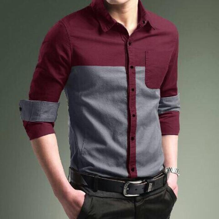 New Item! Pakaian Pria Kemeja Slim Fit Lengan Panjang C3Kode Dhala-FASH389