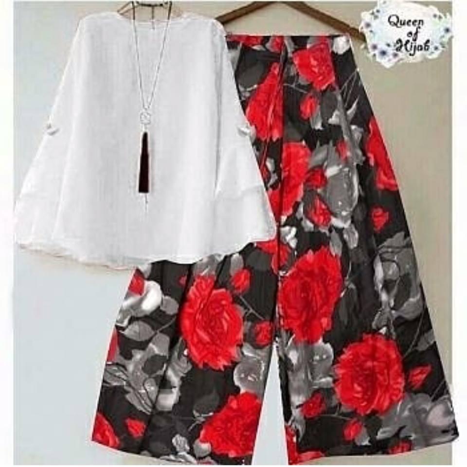 Baju Setelan Wanita Kulot Flowers Merah Blouse Putih